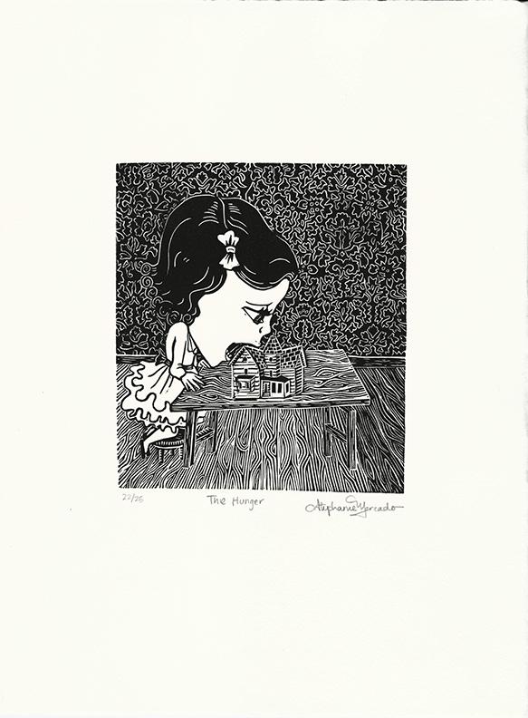 "Stephanie Mercado, The Hunger linocut, Ed. 25, 15 x 11"""
