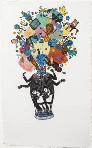"""Flourish (Explode), 2018, monoprint, relief print collage on handmade paper, 29 x 18"""" - unframed, Private Collection"""