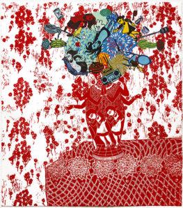 "Flourish (Scarlet), 2018, monoprint, relief print collage, 24-3/4 x 21-3/4"" - unframed"