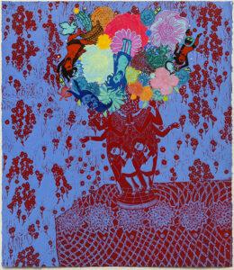 "Flourish (Red, Blue) 2018, monoprint, relief print collage, 28 x 25"" - framed"
