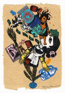 """Untitled V (Work Promotes Confidence), 2020, relief print collage on hand-made paper 12 x 9"""""""