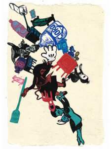 """Untitled III (Blue Maid, Red Maid), 2020, relief print collage on hand-made paper 12-1/8 x 8-3/8"""""""