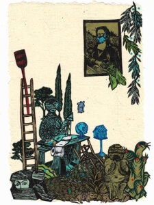 """Untitled II (with Remedios Varo), 2020, relief print collage on hand-made paper 12-1/2 x 8-3/8"""" private collection"""