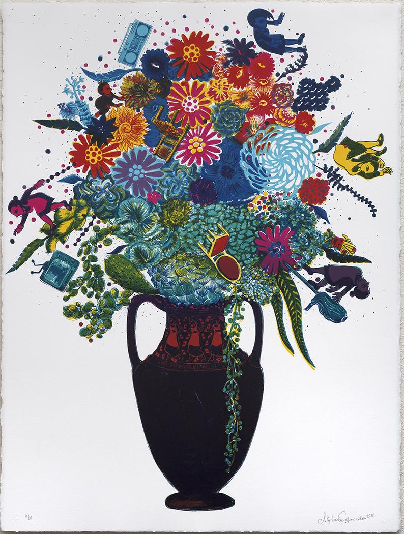 "Flourish (for Julie), 2020, lithograph, Ed. 15, 30 x 22"""