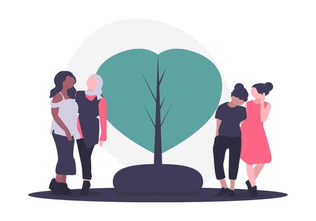 Women around a tree icon