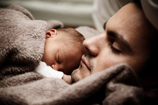 dad napping with baby
