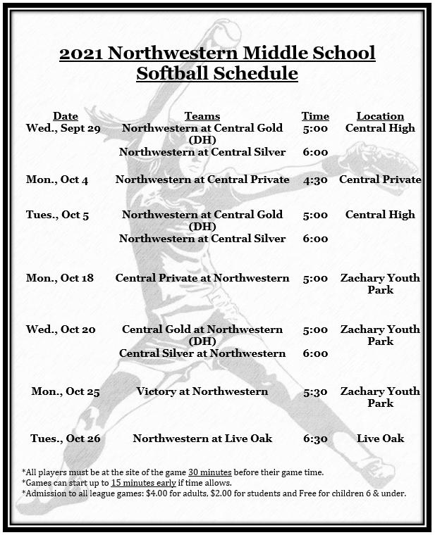 2021 Softball Schedule
