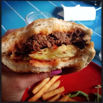 photo of burger insides