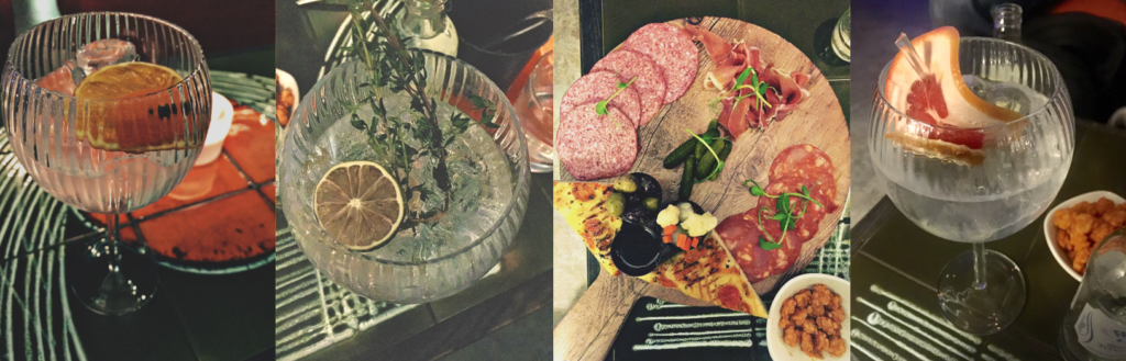 photo of gins and cured meat platter