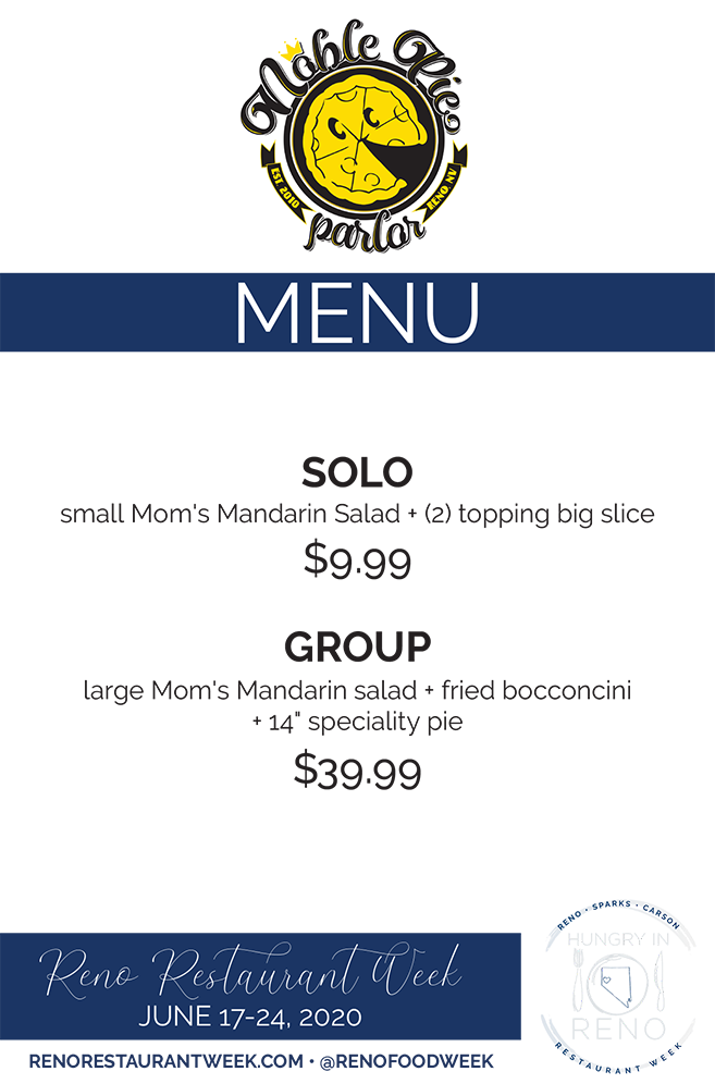 Noble Pie menu
