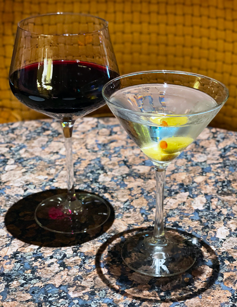Rombauer Merlot and Titos Martini with two olives at Bistro Napa in the Atlantis Casino Resort Spa
