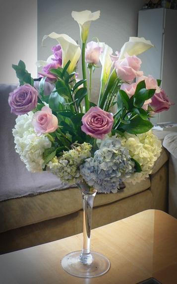 Fun Hydrangea & Rose Centerpiece in Oversized Martini Glass.