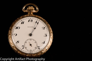 Front of gold pocket watch