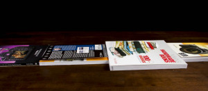 Books stacked on print