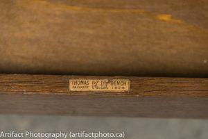 Thomas organ bench, circa 1924, name plate
