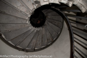 The stairs spiral up 311 steps