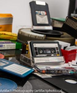 """Cassette tape, 5.25"""" floppy, 3.5"""" floppy, 100 MB Zip disks"""