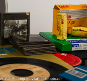 "Lantern slides, 120mm roll film, and 4x5"" cut film"