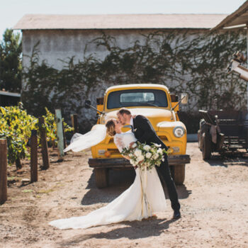 Wedding couple at the winery