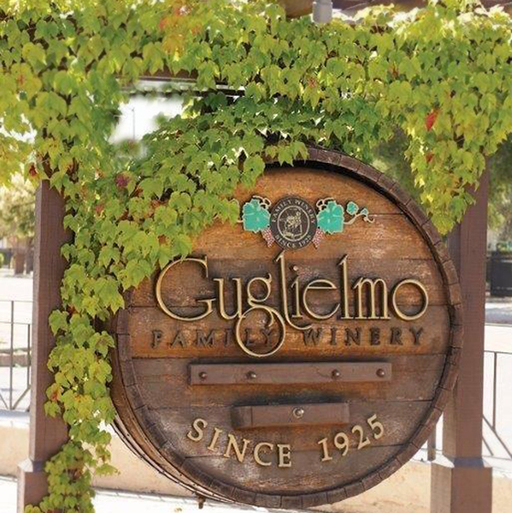Guglielmo Winery barrel sign with vines