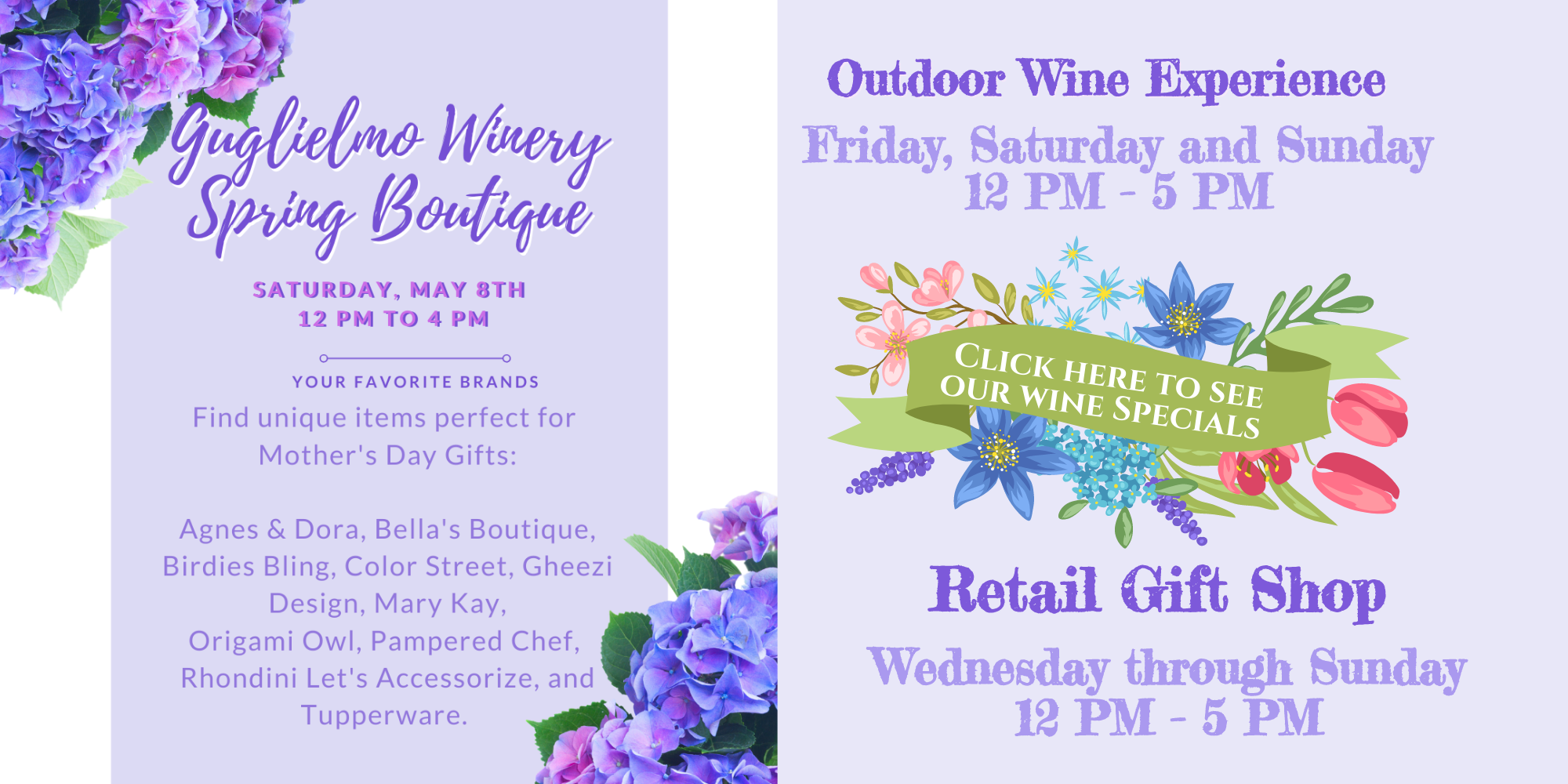 New May hours and Guglielmo Winery Spring Boutique