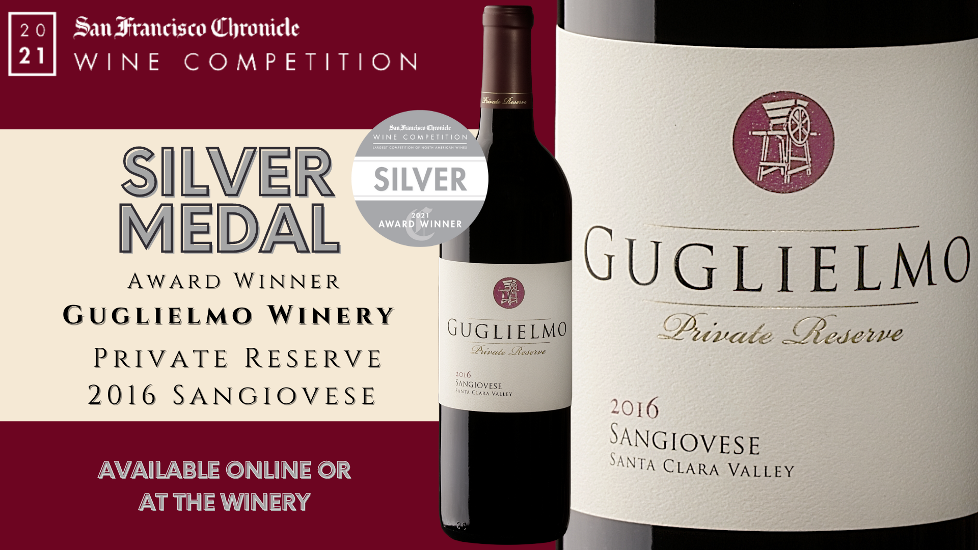 San Francisco Chronicle Wine Competition 2021 Gold Medal Award Winner 2016 Guglielmo Private Reserve Sangiovese
