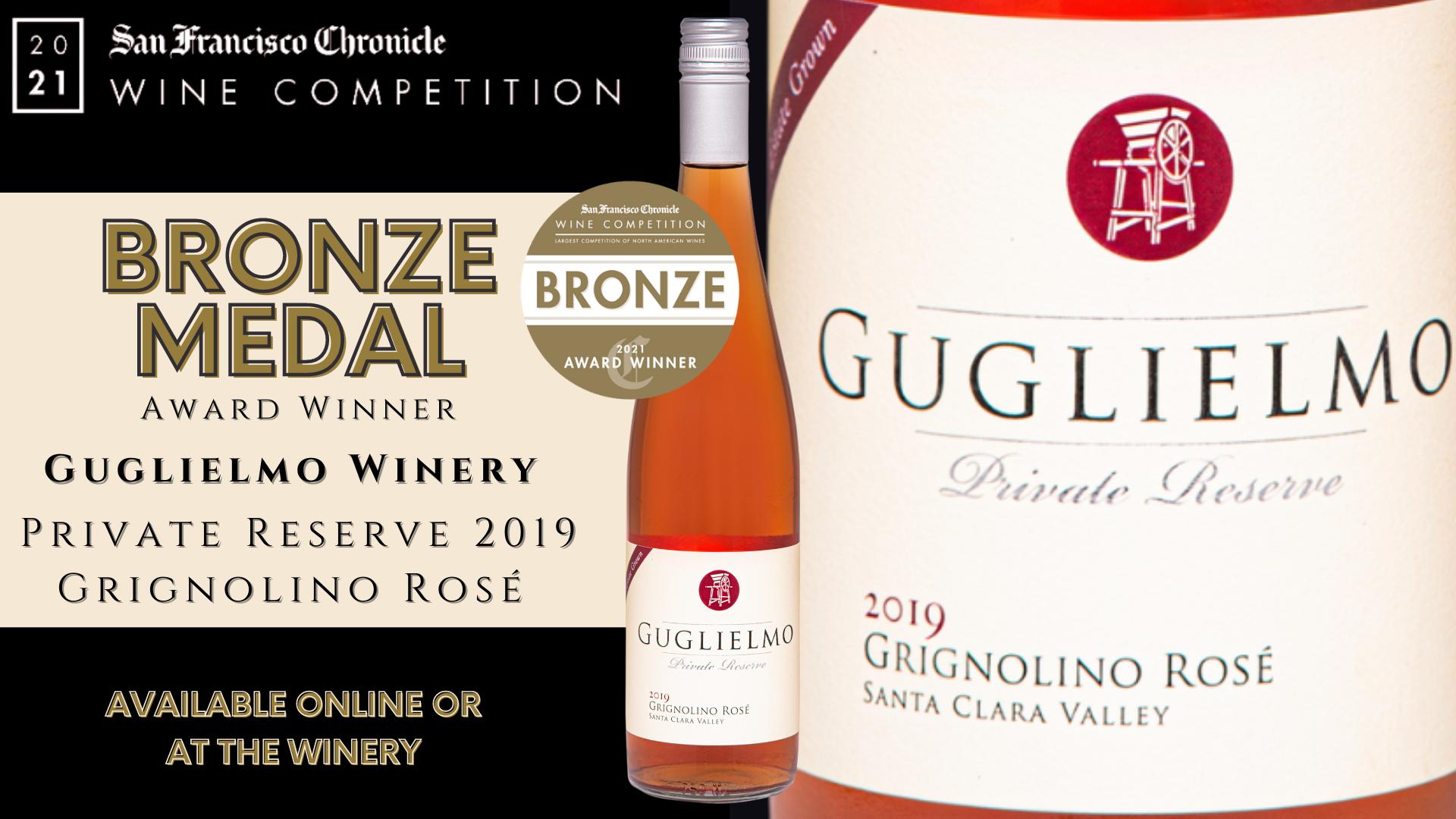 San Francisco Chronicle Wine Competition 2021 Gold Medal Award Winner 2019 Guglielmo Private Reserve Estate Grown Grignolino Rosé