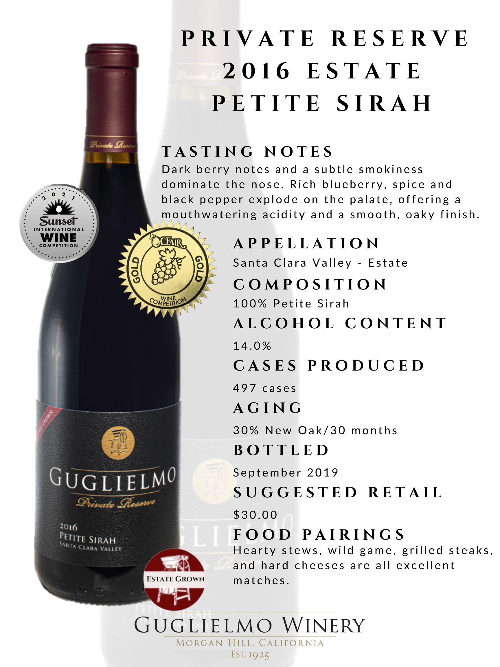 Private Reserve Petite Sirah 2016 Fact Sheet