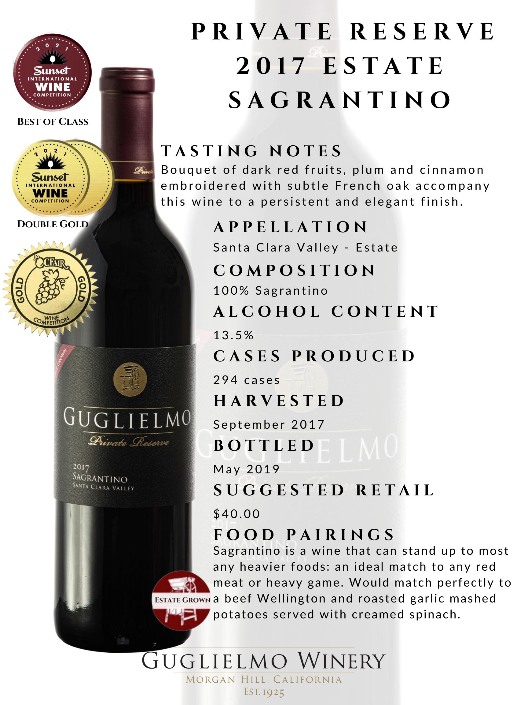 Private Reserve Sagrantino 2017 Fact Sheet