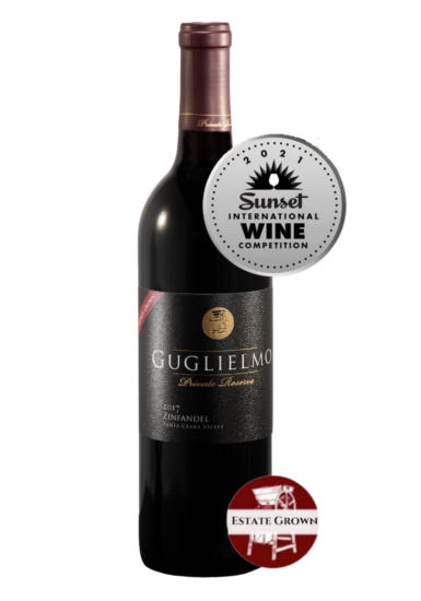 Guglielmo Private Reserve Estate Grown 2017 Zinfandel Silver Medal Sunset Wine Competition
