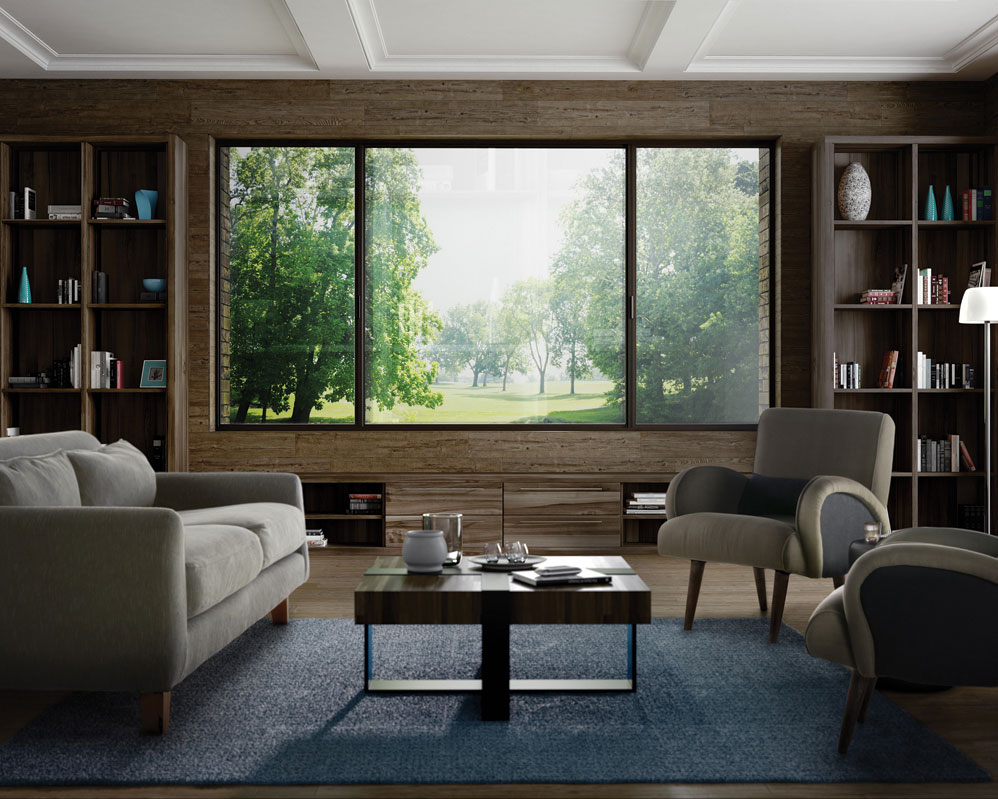 Big aluminum windows in a reading or living room