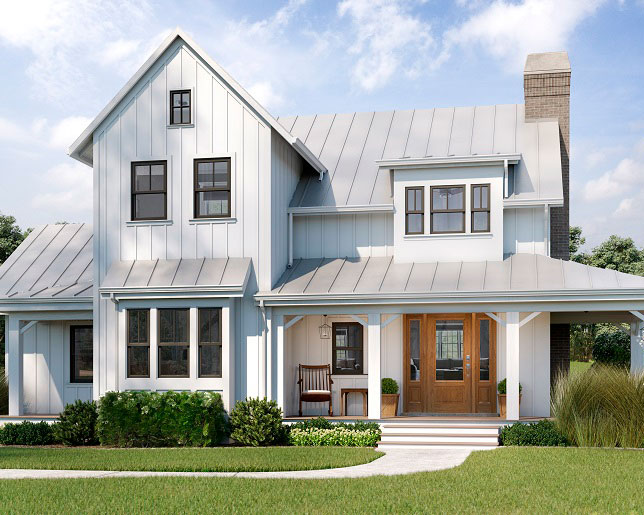 Modern farmhouse-style home with a wooden front door