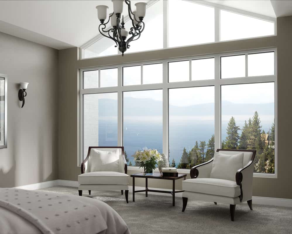 White fiberglass windows are great for Okanagan bedrooms