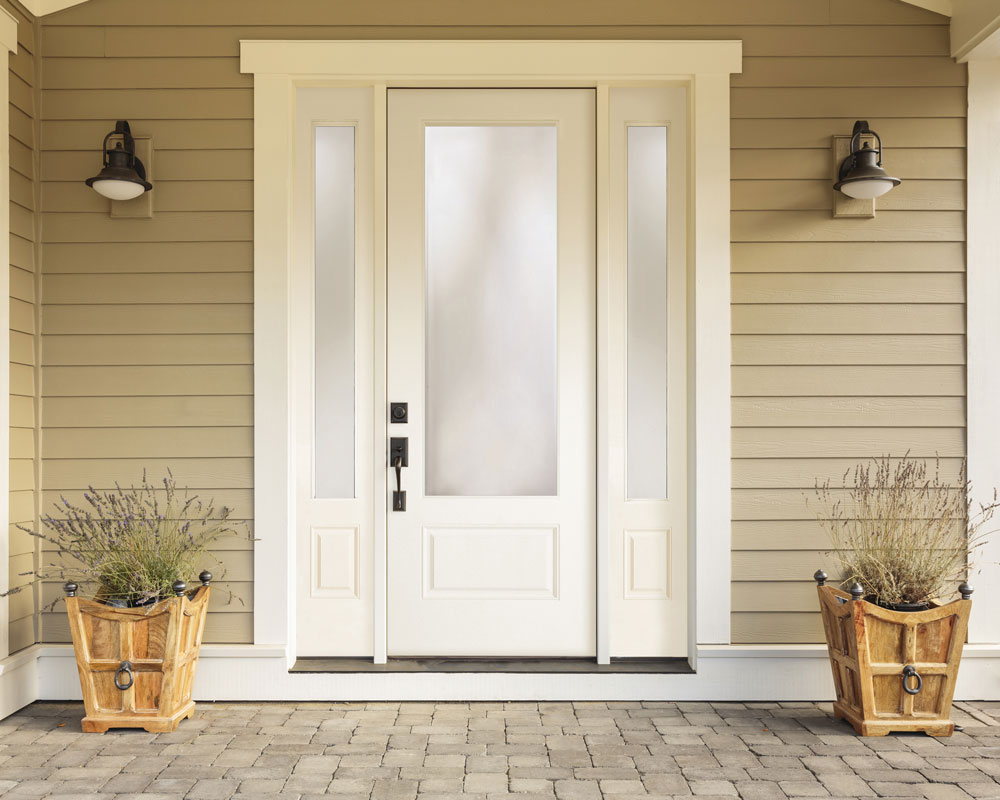 A beautiful farmhouse-style front entry door