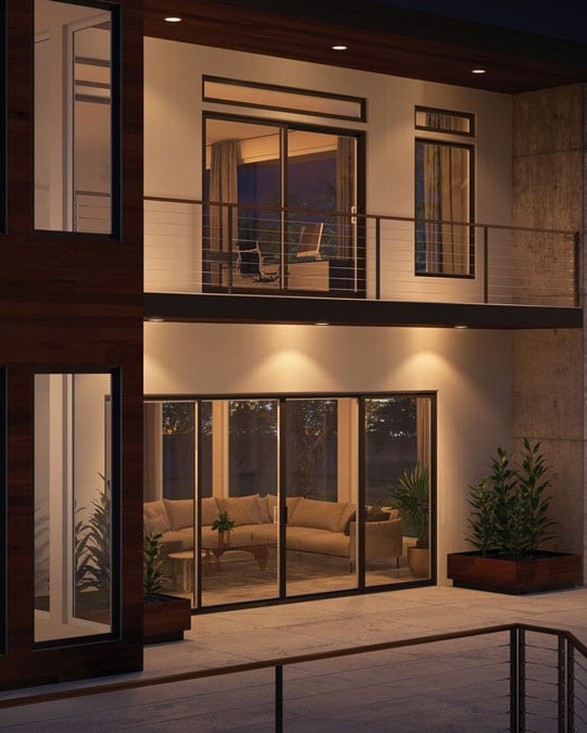 High quality sliding patio door of a living room or master bedroom