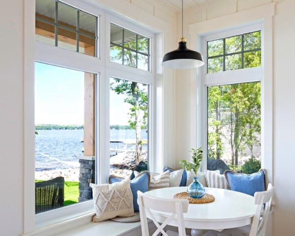 These white, energy-efficient vinyl windows are perfect for sunrooms in Okanagan homes
