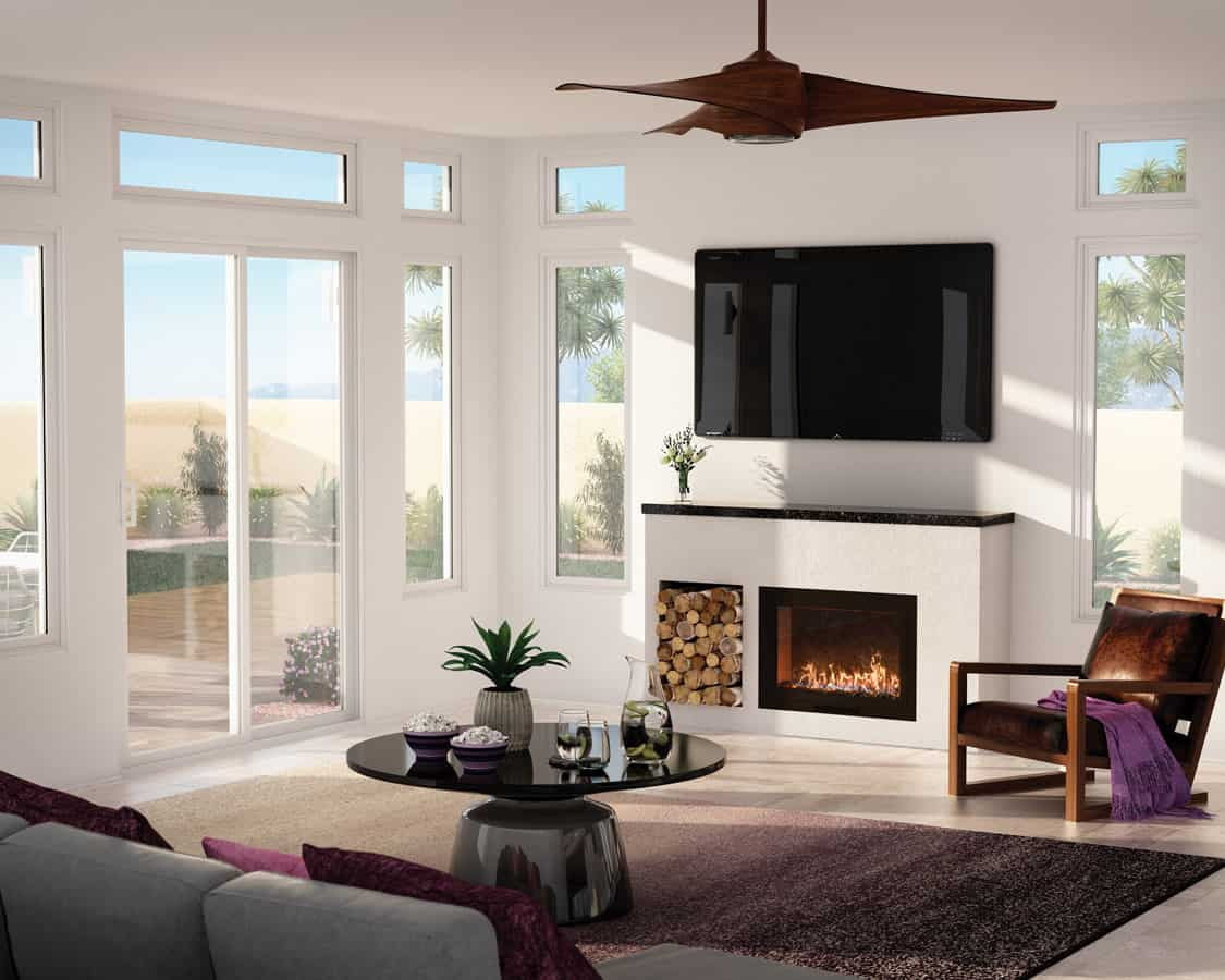 Increase your living room's natural light with large windows and patio doors