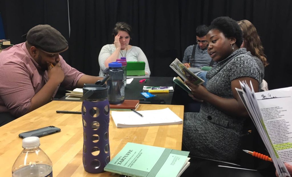 Tartuffe cast and director at read-through