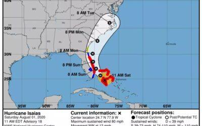 Costa sureste de la Florida se prepara para recibir al Huracán Isaías.