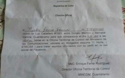 "Viral: Ministerio de Comunicaciones de Cuba cita a un internauta para ""analizar"" su perfil de Facebook."
