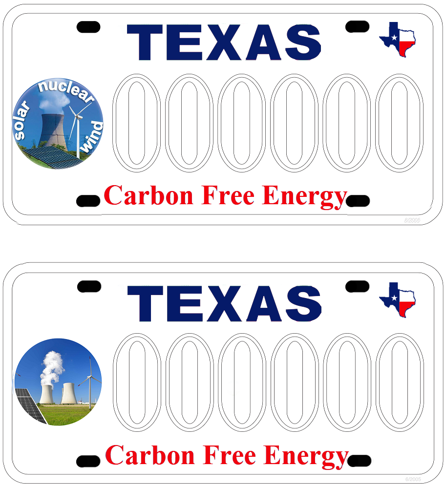 Carbon Free Texas License Plate