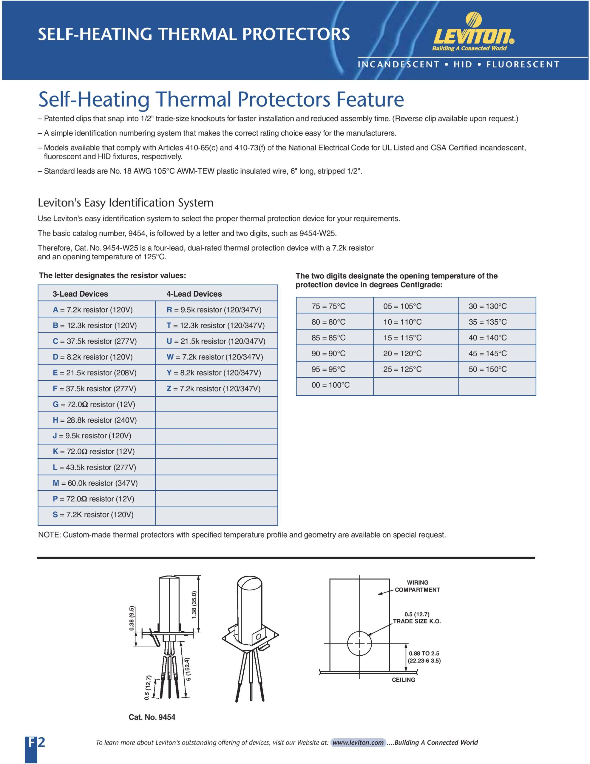Thermal Protector Spec Sheet