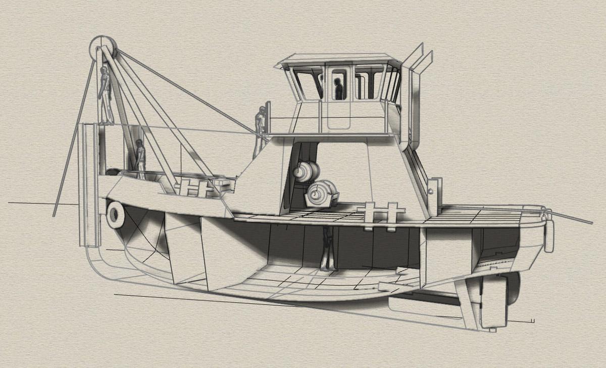 Vessel Design Build Engineering Fabrication Tugboat 45 x20 Workboat Curtin Maritime Bernardine C Drawing