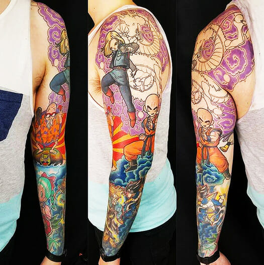 Anime Arm Piece by Seattle Tattoo Artist Curtis Dee Stairs