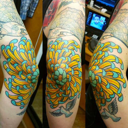 Elbow Tattoo by Curtis Dee Stairs of Seattle