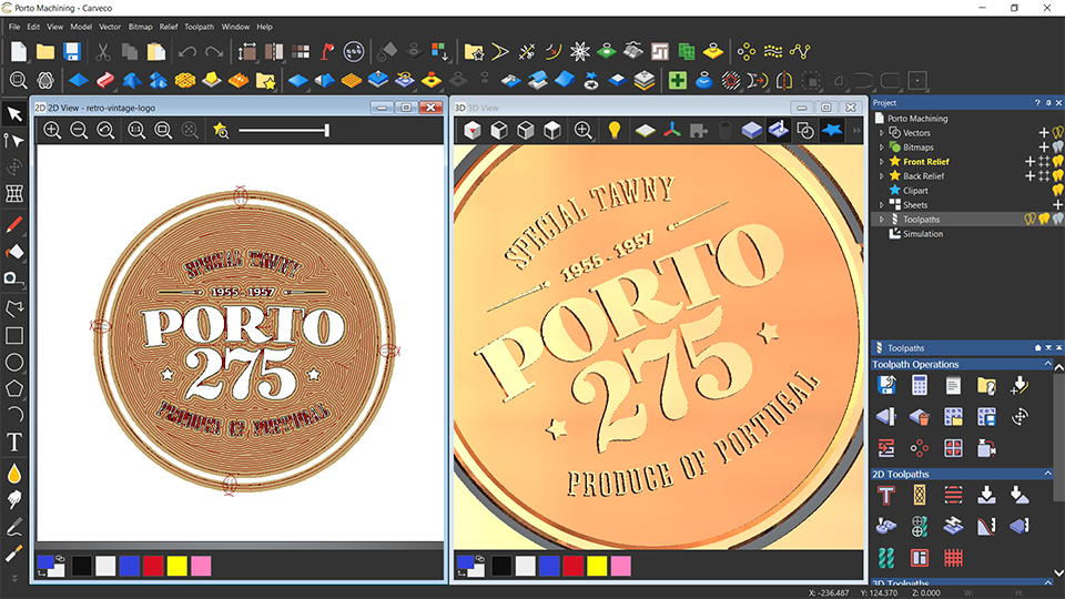 Porto plate, split screen view