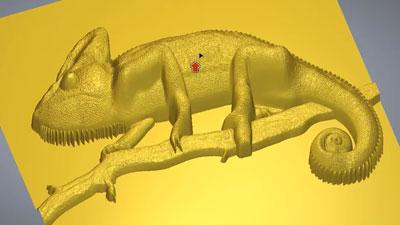 Carveco relief model of a gecko