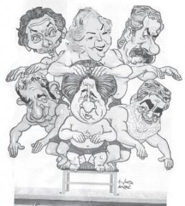 Macri, Carrio, Solá. Abajo: Cobos, Duhalde y Das Neves. Ninguno es alternativa para los trabajadore
