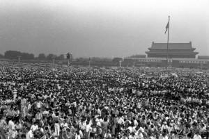 Protesta Plaza Tiananmen. Foto Jiang Lin