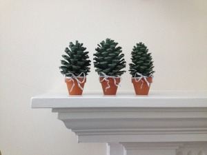 pinecones on mantel